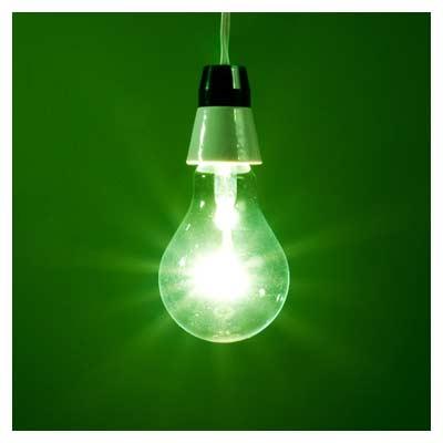 عکس لامپ رشته ای سبز رنگ
