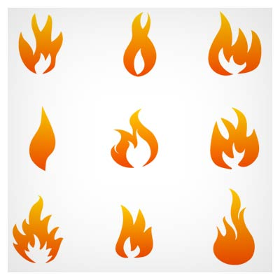 دانلود فایل وکتور مجموعه المان و لوگوهای شعله های آتش نارنجی با فرمت ai