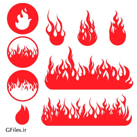 دانلود وکتور مجموعه شعله های آتشین قرمز با پسوند ai لایه باز
