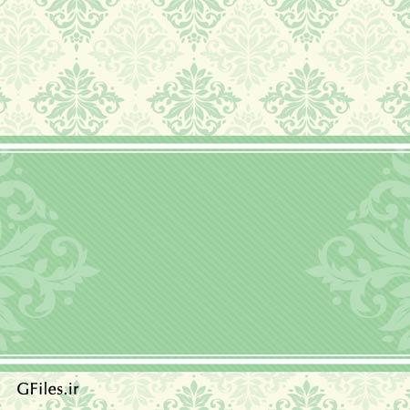 وکتول لایه باز طرح پس زمینه تذهیب (پترن) با رنگ سبز