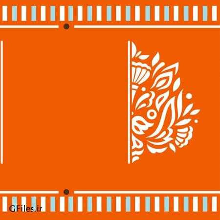 پس زمینه فانتزی با نقوش قدیمی با رنگ نارنجی