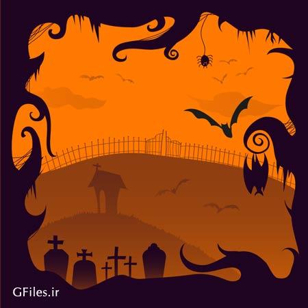دانلود وکتور طرح گرافیکی هالووین و قبرستان با پسوند ai