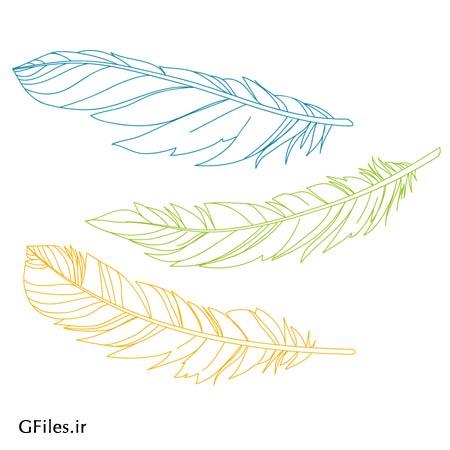 دانلود فایل رایگان پرهای پرنده رنگی بصورت لایه باز وکتور