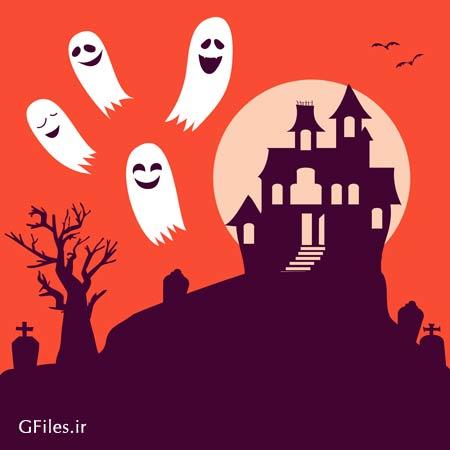 وکتور لایه باز کلبه ی وحشت و بکگراند جشن هالووین با فرمت ai