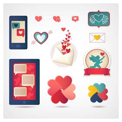 مجموعه آیکونهای عاشقانه روز ولنتاین