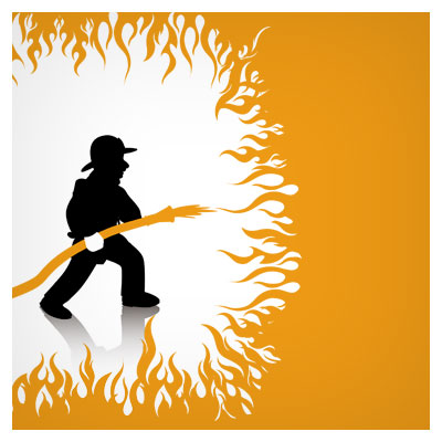 دانلود وکتور رایگان مرد آتش نشان در حال خاموش کردن آتش نارنجی