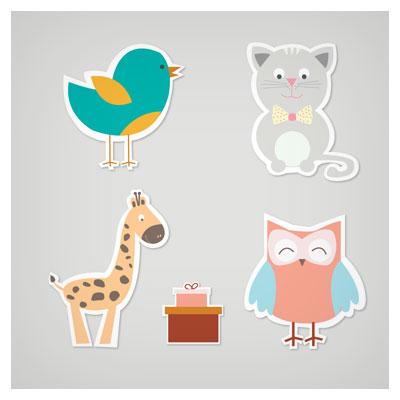 مجموعه وکتور کارتونی حیوانات