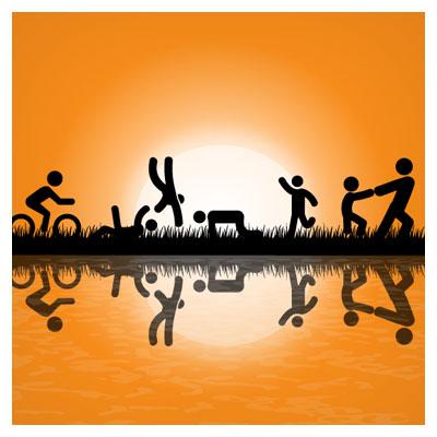 وکتور تفریح و شادی بچه ها در کنار رودخانه با پسوند ai لایه باز