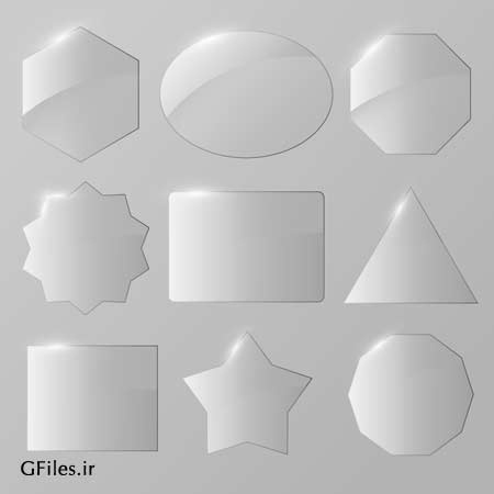 مجموعه لیبل های هندسی شیشه ای