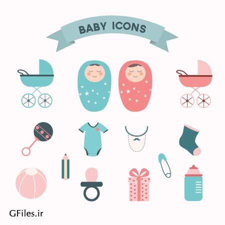 مجموعه آیکون های وکتور کودک ، نوزاد و المان های مربوطه