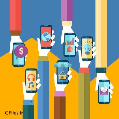 دانلود وکتور با طرح موبایل ها در دست با طراحی سبک فلت و مینیمال