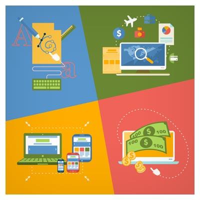 دانلود وکتور مجموعه چهار بنر با موضوعات رزرو آنلاین بلیط ، طراحی و گرافیک ، کسب درآمد و دیجیتال