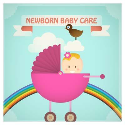 وکتور با موضوع مراقبت از نوزاد و بچه در گهواره