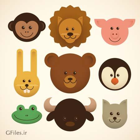 مجموعه وکتور سر حیوانات بصورت کارتونی و گرافیکی