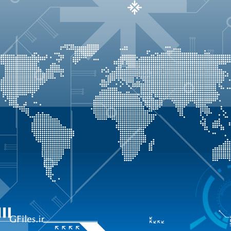 دانلود وکتور دیجیتال بکگراند با طرح نقشه زمین و کره جغرافیایی