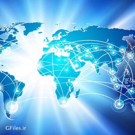 وکتور نقشه جهان و شبکه های اینترنتی و ارتباطات اجتماعی با فرمت ai