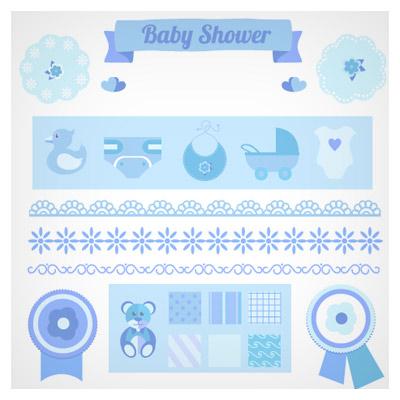 مجموعه وکتور لباس و المانهای نوزاد بصورت فلت