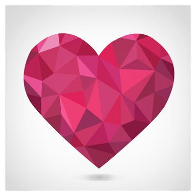 طرح وکتوری لایه باز قلب قرمز با پترن مشبک (Free Red Heart Vector)