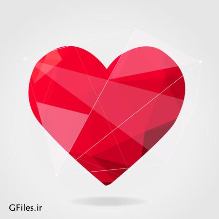 وکتور لایه باز طرح گرافیکی قلب قرمز رنگ با فرمت ai