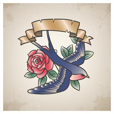 دانلود وکتور لایه باز پرستو و گل رز