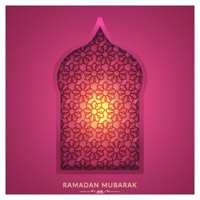 وکتور پنجره محرابی با موضوع سحرهای ماه رمضان