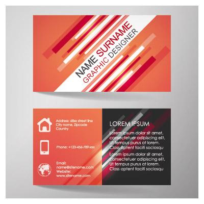 وکتور تجاری کارت ویزیت دو رو با تم نارنجی