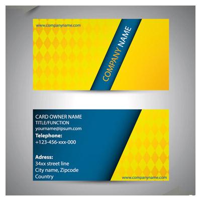 دانلود وکتور لایه باز کارت ویزیت با تم رنگی آبی و زرد