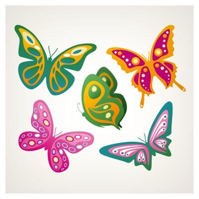 دانلود رایگان فایل برداری مجموعه پروانه های رنگی