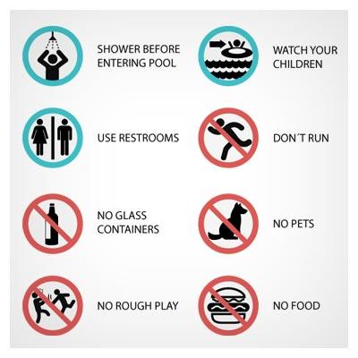 دانلود رایگان مجموعه علائم هشدار دهنده استخر و شنا