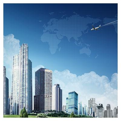 PSD نمای خارجی یک شهر بصورت لایه باز