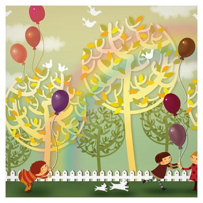 فایل psd لایه باز شادی کودکان در پارک بصورت کارتونی