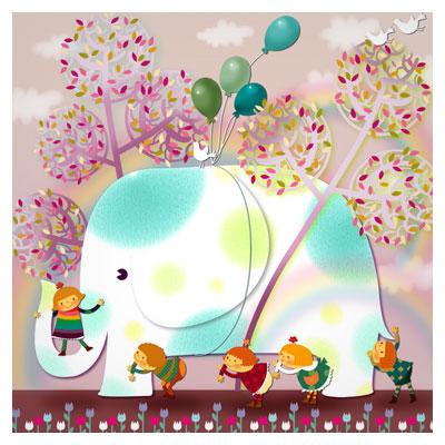 فایل لایه باز کارتونی فیل بازی بچه با فرمت psd