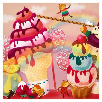 بچه ها ، بستنی ، شادی و بازی (فایل لایه باز psd)