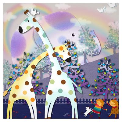 فایل psd لایه باز بازی بچه ها با حیوانات در باغ وحش