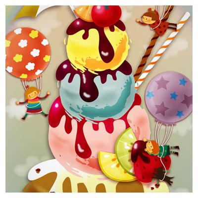 psd با کیفیت بستنی شکلاتی و شادی کودکانه