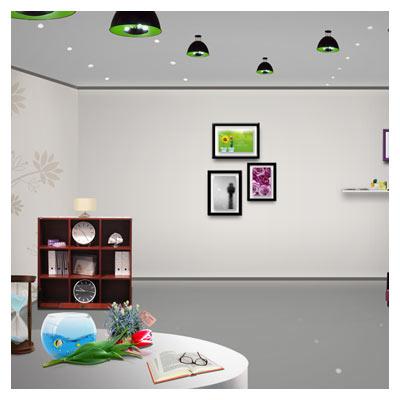 نمای داخلی یک سالن با المان های لایه باز با فرمت psd