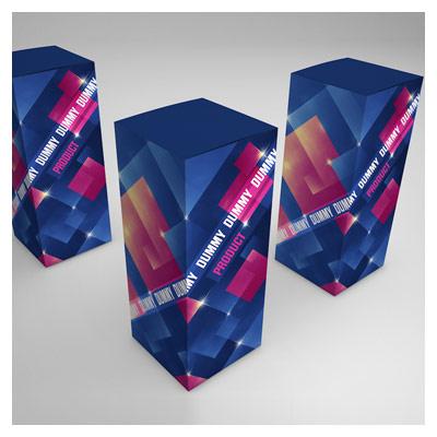 نمایش سه بعدی طرح بر روی جعبه های ایستاده (موکاپ)