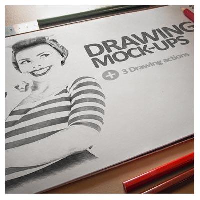 دانلود موکاپ نمایش طرح یا اسکچ بر روی کاغذ و بصورت سه بعدی
