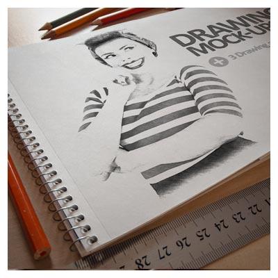موکاپ PSD نمایش نقاشی یا طرح بصورت سه بعدی روی کاغذ