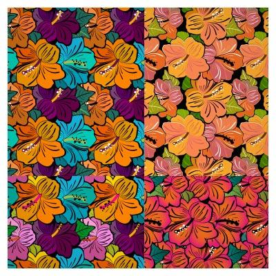 مجموعه پترن با کیفیت گل های فانتزی (hibiscus) قابل اجرا در فتوشاپ