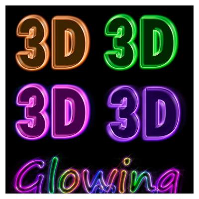 دانلود استایل سه بعدی (افکت متن) glowing neon