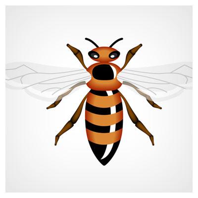 دانلود وکتور زنبور عسل بصورت لایه باز (vector honey bee)