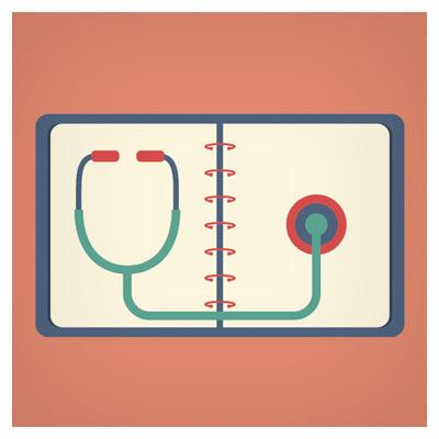 وکتور لیست توضیحات بیمار و گوشی پزشکی