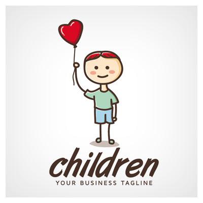 وکتور لوگوی کودک بادکنک به دست
