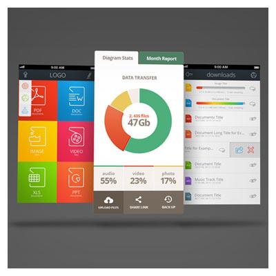 فایل موکاپ یا پیش نمایش صفحات طراحی شده اپ تلفن همراه