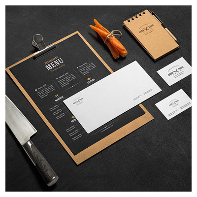 مجموعه موکاپ سربرگ ، دفتریادداشت و کارت ویزیت با موضوع آشپزی