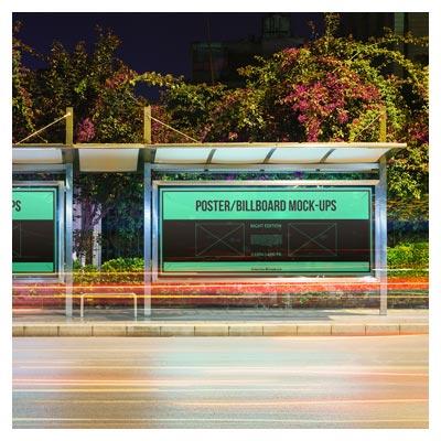 موکاپ بیلبوردهای تبلیغاتی ایستگاه اتوبوس