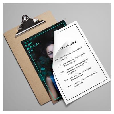 فایل پیش نمایش  psd  تخته طراحی ، عکس و فلایر a4