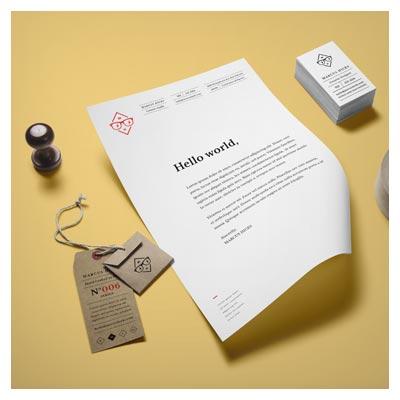 موکاپ سربرگ (رزومه) ، کارت و اتیکت بصورت لایه باز