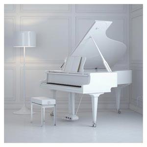 دانلود عکس پیانوی سفید و دکوراسیون خانه